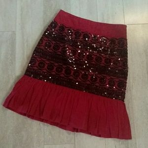Anthropologie Skirt with Black Sequins